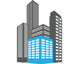 Illustration of business buildings, a form of real estate handled by lawyers Richard Der and Chau Nguyen, who also offer Wills and Estates and corporate legal services.